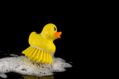 Rubber duck brush with foam in corner isolated on black Royalty Free Stock Photos