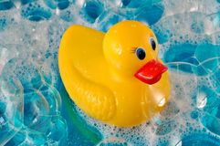 Rubber Duck in Bubbles Royalty Free Stock Image