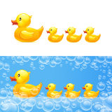 Rubber duck with ducklings. Vector royalty free illustration