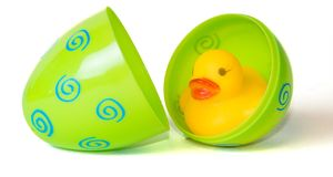 Rubber Duck in Easter Egg Royalty Free Stock Image