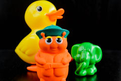 Rubber duck elephant and bee Stock Photo