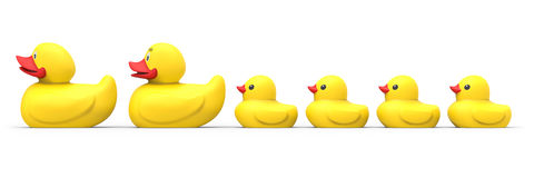 Rubber duck family. Isolated on white background 3D rendering royalty free illustration