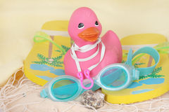 Rubber Duck with Flip Flops & Goggles Royalty Free Stock Photos