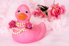 Rubber Duck Flower Girl Stock Image