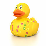 Rubber duck with flowers Stock Photo