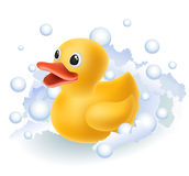 Rubber duck in foam. Yellow Rubber duck in foam with bubbles royalty free illustration