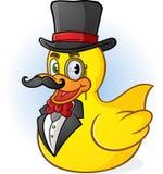 Rubber Duck Gentleman Cartoon Arkivbild