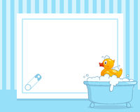 Rubber Duck Horizontal Boy Photo Frame. A funny horizontal photo frame with a cute rubber duck in a bath tub with foam and bubbles, on blue background. Eps file Royalty Free Stock Photography