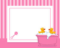 Rubber Duck Horizontal Girl Photo Frame. A funny horizontal photo frame with two cute rubber ducks in a bath tub with foam and bubbles, on pink background. Eps royalty free illustration