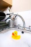 Rubber duck in kitchen sink stock photos