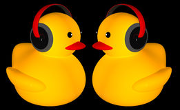 Rubber duck listing music Royalty Free Stock Photography