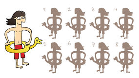 Rubber Duck Mirror Shadows Visual Game. Task: find the right mirror shadow image! Answer: No. 7. Illustration is in eps8  mode Stock Images