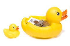 Rubber duck with money Royalty Free Stock Image