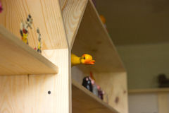 Rubber duck on the shelf Stock Image