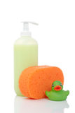 Rubber duck, soap and sponge Royalty Free Stock Images