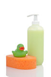 Rubber duck, soap and sponge Royalty Free Stock Photography