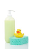 Rubber duck, soap and sponge Stock Image