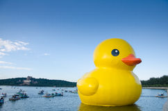 The rubber duck in summer palace Royalty Free Stock Photos