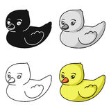 Rubber duck toy icon in cartoon style isolated on white background. Baby born symbol stock vector illustration. Rubber duck toy icon in cartoon style isolated royalty free illustration