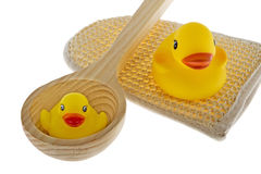 Rubber duck with utensils sauna Royalty Free Stock Photos