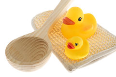 Rubber duck with utensils sauna Stock Photos