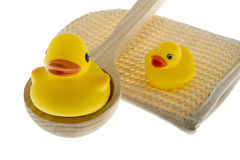 Rubber duck with utensils sauna Royalty Free Stock Photo