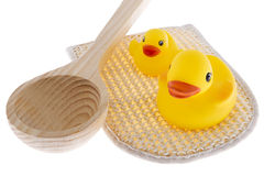Rubber duck with utensils sauna Stock Photo