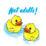 Rubber duck in the vector. Illustration for postcards, posters or print on clothes. Children`s drawing. Royalty Free Stock Images