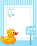 Rubber Duck Vertical Boy Photo Frame. A funny vertical photo frame with a cute rubber with a it's a boy sign, on blue background. Eps file available Stock Photo