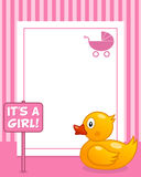 Rubber Duck Vertical Girl Photo Frame. A funny vertical photo frame with a cute rubber with a it's a girl sign, on pink background. Eps file available Royalty Free Stock Image