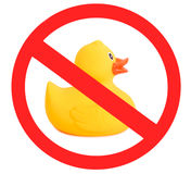 Rubber duck yellow toy for swimming isolated on white background, The sign Royalty Free Stock Photography