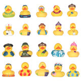 Rubber ducks. Yellow rubber duckies isolated on white background vector illustration