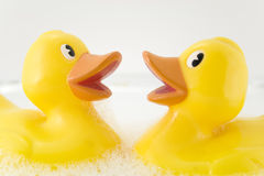Rubber ducks. In bubble bath Royalty Free Stock Images