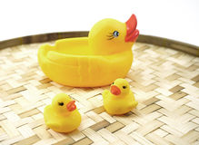 Rubber ducks on the bamboo woven basket isolated Stock Images