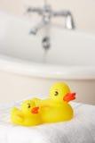 Rubber ducks in bathroom Stock Images