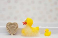 Rubber ducks in the bathroom Stock Photos