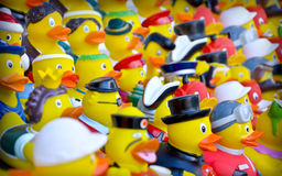 Rubber ducks. With clothes Royalty Free Stock Photos