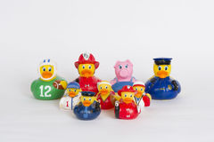 Rubber ducks in a group Royalty Free Stock Photography