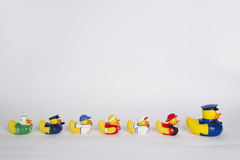 Rubber ducks in a row Stock Photography