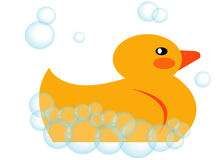 Rubber Ducky. In the bath stock illustration