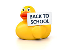 Rubber Ducky. An image of a nice rubber duck with text back to school Royalty Free Stock Photos