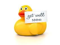 Rubber Ducky. An image of a nice rubber duck with text get well soon Royalty Free Stock Image