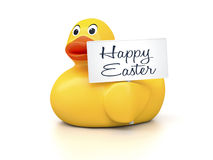 Rubber Ducky. An image of a nice rubber duck with text happy easter Royalty Free Stock Images
