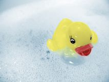 Rubber Ducky Joy!. Yellow rubber ducky floating in bubbly water. Black and white image taken with a Panasonic FZ30 Lumix, and colorized in Photoshop CS Royalty Free Stock Images