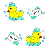 Rubber Ducky and soap vector Stock Photography