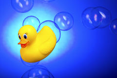 Free Rubber Ducky Surfing Bath Bubbles Royalty Free Stock Photography - 25700487