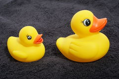 Rubber ducky and towel Stock Image