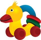Rubber eend met wielen en gekleurde cirkel Vector Illustratie