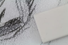 Rubber Eraser on Sketch Drawing Royalty Free Stock Photos