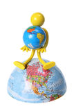 Rubber Figure with Globes Stock Photos